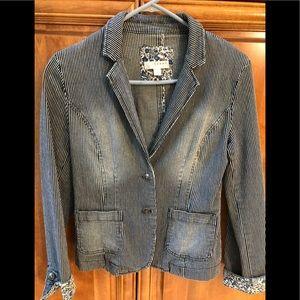Pinstriped denim blazer/jacket